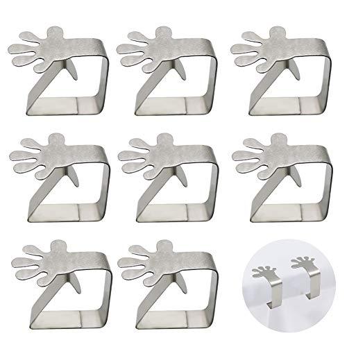 EQLEF Tischdeckenklemmen Edelstahl, Tischdeckenclips, Metall Tischdeckenhalter für Home Kitchen Hochzeitsfeier Picknick 8 Pack