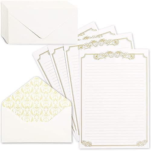 Vintage Stationery Paper and Envelopes Letter Set, Gold Border (8.5 x 11 In, 60 Sheets)