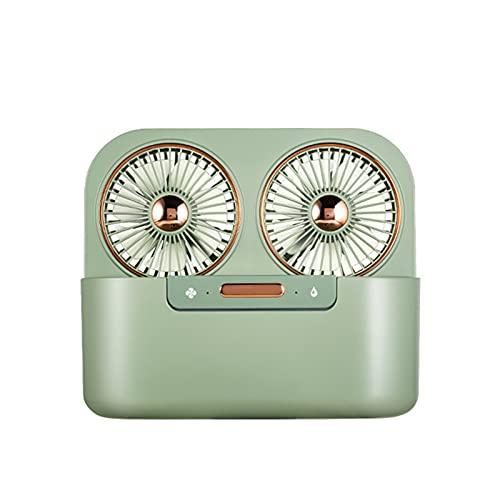 Nuevo Ventilador de Aire Acondicionado de Doble Hoja Y Doble PulverizacióN, Ventilador de RefrigeracióN por Agua de Escritorio USB, Tanque de Agua EstéRil Grande Incorporado de 1,4 L,Verde