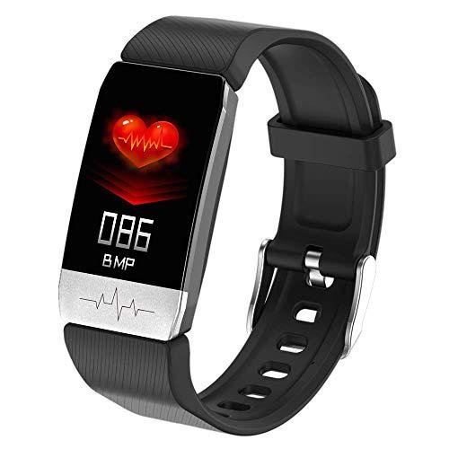 JASZW Fitness Tracker, Smart Watch, Körpertemperatur/Herzfrequenz/Blutdruckmessgerät / IP67 wasserdicht - für Männer Damenuhr,Schwarz