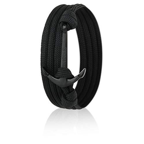 Skipper Anker-Armband mit Schwarzem Edelstahl Anker für Damen und Herren - Schwarz 7528