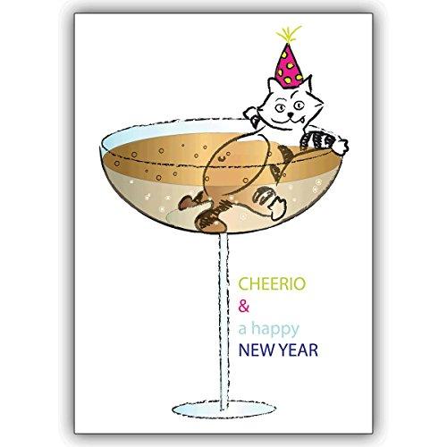 Wenskaarten met korting voor hoeveelheid: oudejaarsakkaart met champagne en kat: CHEERIO & a happy NEW YEAR • als mooie kerstgroet met envelop voor Nieuwjaar, oudejaarsavond voor familie en bedrijf 16 Grußkarten