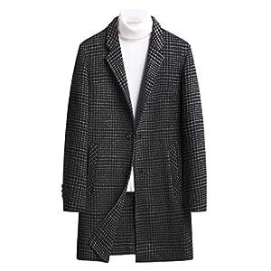 両面 ウールチェック生地 チェスターコート メンズ ウール メルトン コート ロング コート ジャケット 防寒 きれいめ 厚手 アウター ブルゾン ビジネス 細身 スリム ステンカラーコート Men's Coat (3XL, 黒)