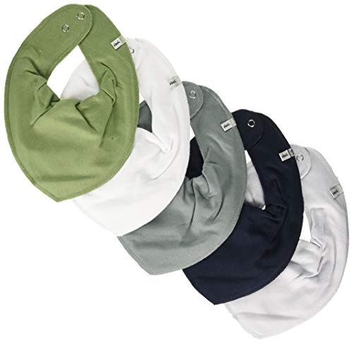 PIPPI Unisex Baby Bandana bib-solid Halstuch, 5er Pack, Lead, One Size