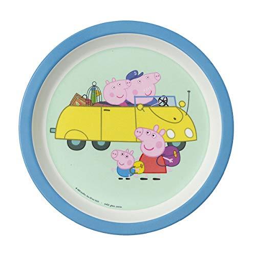Peppa - Plato para bebé, diseño de abuelos, color azul, 1 unidad
