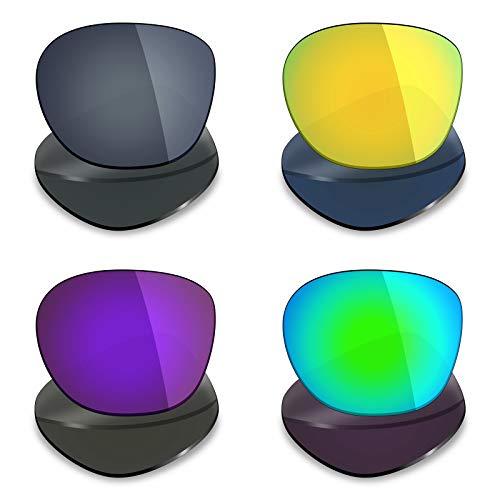 Mryok 4 Pair Polarized Replacement Lenses for Oakley Garage Rock Sunglass - Black IR/24K Gold/Plasma Purple/Emerald Green