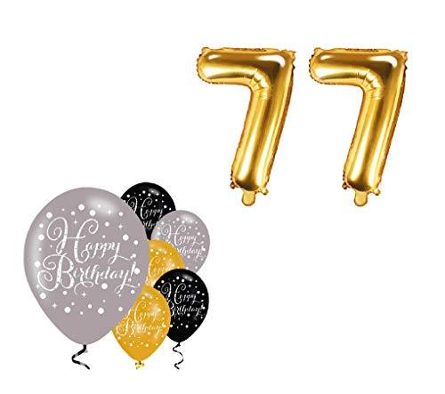 Feste Feiern Party-Deko 77. Geburtstag Schnapszahl 8 Teile Set Zahlenballon Luftballon Folie Zahl 77 Pink Schwarz Lila metallic Dekoration Happy Birthday Jubiläum