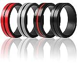 ThunderFit Silicone Rings for Men 4 Pack Rubber Wedding Bands (Red Black, Black Red, DarkGrey Black, Black , 9.5 - 10 (19.8mm))