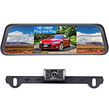 Backup Camera for Car HD 1080P with 4.3   Mirror Monitor Kit for Cars,SUVs,Trucks Rear View Camera One Wire Plug and Play System IP69 Waterproof License Plate Camera DIY Grid Lines LeeKooLuu LK1