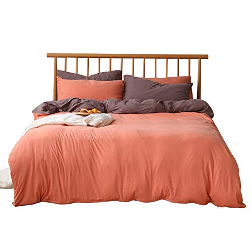 Long Pure color contrast four-piece knitted cotton bed sheet-1.8m (sheets) Breathable sheets are oh so soft