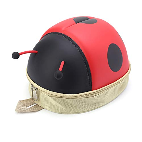 niumanery Kids Backpack Ladybug Beetle Backpack Kindergarten Children School 3D Cartoon Travel Bags Red
