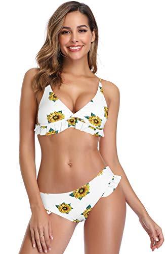 Shekini, bikini da donna a triangolo, brazilian push up con scollo a V, con volant, a vita bassa, taglie grandi, colore: nero fiori XS