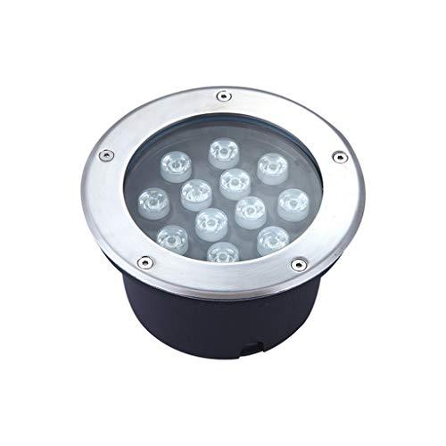 Spot Encastrable Exterieur,De Plein Air Imperméable LED Intégré Inoxydable Acier Projecteur Pelouse Paysage Jardin Lampe (Couleur : Lumière blanche chaude-12W)