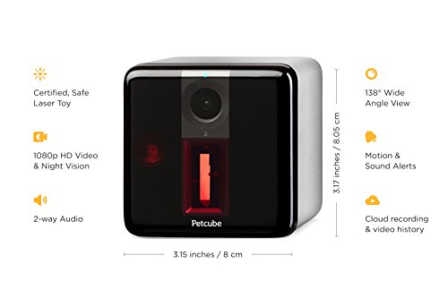 Petcube [2017 Item] Play Smart Pet Camera with Interactive Laser Toy. Remote Dog/Cat Monitoring with HD 1080p Video, Two-Way Audio, Night Vision, Sound/Motion Alerts. App-Enabled Pet and Home Safety