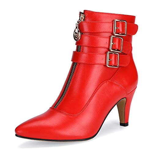IDIFU Women's Buckle Strap Ankle Booties 3 Inch Pointed Toe Zipper Heels Dress Jeans Boots (Red, 9.5 M US)