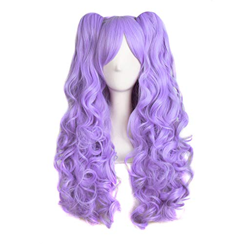 MapofBeauty 28'/70cm Lolita Long Curly Clip on Ponytails Cosplay Wig (Light Purple)