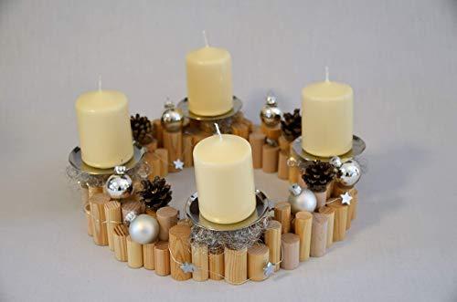 Gr. Adventskranz aus Rundhölzern mit Tannenzapfen, silbernen Kugeln und Sternen | Kreativ & Individuell Gestalten! | Advent | Deko | Weihnachten | Holz | Kerzen