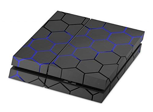 Skins4u Aufkleber Premium Folie PS4 Skin kompatibel mit Sony Playstation 4 EXO Blue