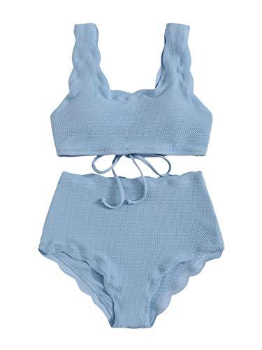 SweatyRocks Women's 2 Pieces Swimwear Scoop Neck Scalloped Trim High Waist Bikini Set Blue M