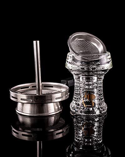 Dschinni Kristallkopf Nero Eco Pro (Handmade Kristallglaskopf mit Seflex & Kaminaufsatz)