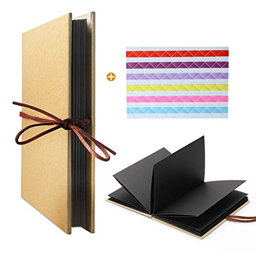 LEEQ Hardcover Kraft, Estilo acordeón, álbum de Fotos DIY, página de Libro 36, Bloc de Notas, graduación, cumpleaños, Aniversario, Regalos de Boda (páginas Negras)