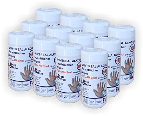 ProfiOffice universal Alkohol getränkte feuchte Einweg-Allzweck-Tücher 100 Tücher in Spenderdose 12er Gebinde (19891)