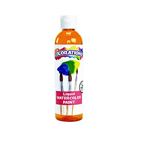 Colorations LWOR Liquid Watercolor Paint, 8 fl oz, Orange, Non-Toxic, Painting, Kids, Craft, Hobby, Fun, Water Color, Posters, Cool effects, Versatile, Gift