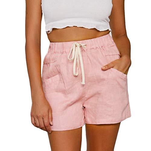 Andouy Damen Sommer Kurze Hosen Tunnelzug Elastische Stoffhose Solide Strand Shorts mit Taschen(M.Rosa)
