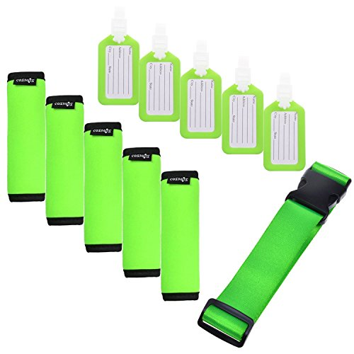 Cosmos 5 Pcs Fluorescent Green Comfort Neoprene Handle Wraps/Grip/Identifier + Luggage Tags + Fluorescent Green Nylon Add a Bag Luggage Strap