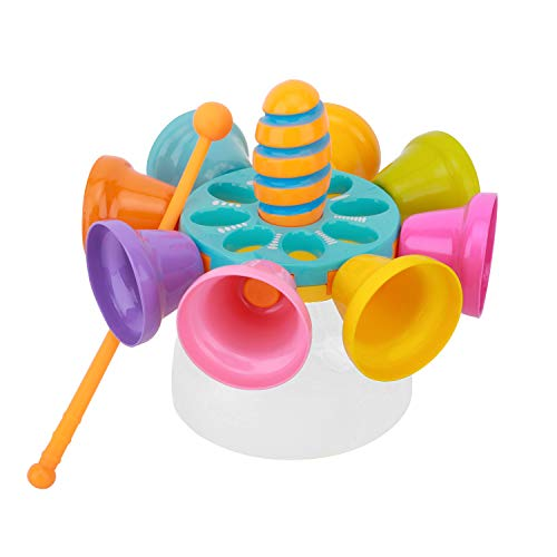 Zooawa Hand Musical Bells, 8 Note Diatonic Toddler Musical Instruments Early Age Music Learning Toy, Rotatable Spinning Metal Musical Bells for Kids Children, Blue Turntable