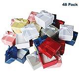 Kurtzy Pack de 48 Cajas para Joyas Anillo Exhibir Regalos con Inserto de Terciopelo Cajas de Presentación de 3,8 x 2,8 cm - Diseño de Lazo y Cinta- Inserto con Ranura para Anillos y Pendientes