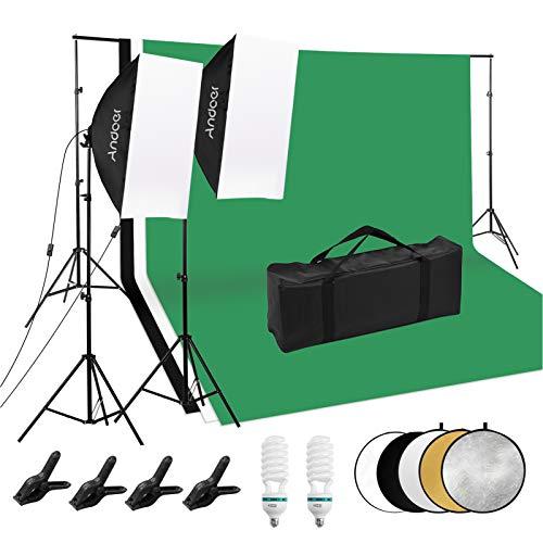 Andoer Kit de iluminación Fotográfica: 2 x Softboxes, 2 x Bombillas, Soporte de luz de 2M x 2, 1 x Juego de Soporte de Fondo, 3 x Fondos, 4 x Abrazadera, Reflector 5 en 1, Bolsa de Transporte