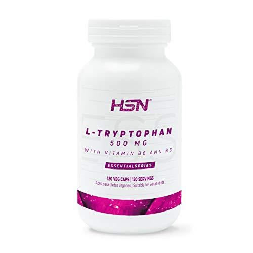 L-Triptófano 500mg de HSN | Con Vitamina B3 y B6 | Mejora el Estado de Ánimo, Precursor de Serotonina, Para Dormir Mejor | Vegano, Sin Gluten, Sin Lactosa 120 Cápsulas Vegetales