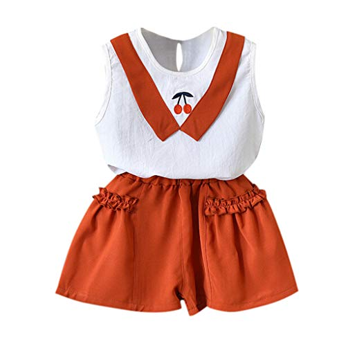 Tonsee Tenues de Filles, Cute Toddler Enfants Bébé Vêtements Cerise Gilet Chemise Tops + Shorts 2 PCS Ensemble