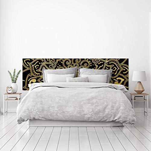 MEGADECOR Cabecero Cama PVC Decorativo Económico Diseño Geométrico de Mandala Negro Dorado Varias Medidas (150 cm x 60 cm)