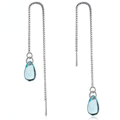 Pendientes Mujer Pendientes De Gota De Agua De Cristal Azul De Plata Esterlina 925 Creativos, Cadena De Joyería para Mujer, Pendientes Largos con Borla