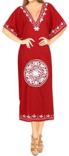 LA LEELA Mujeres caftán Rayón túnica Bordado Kimono Libre tamaño Largo Maxi Vestido de Fiesta para Loungewear Vacaciones Ropa de Dormir Playa Todos los días Cubrir Vestidos Blood Rojo_D641