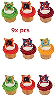 Angry Birds Cake Toppers-CakePicke Angry Birds Why So Angry? Cupcake Rings. (9x pcs)