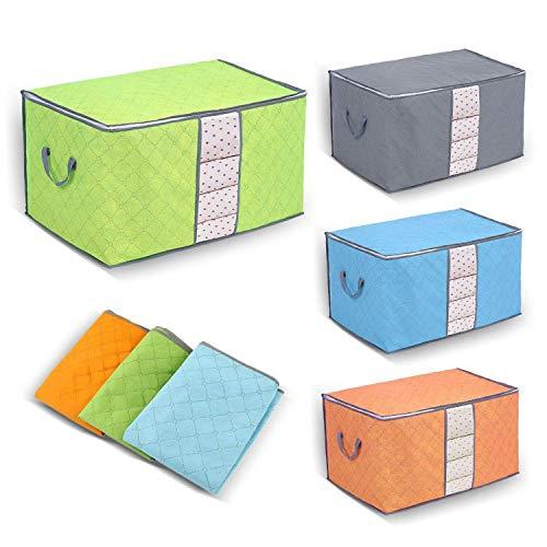 Yosoo Aufbewahrungsbox aus Bambuskohle, 3 Stück per pack, mit Reißverschluss, groß, langlebig, faltbar, für Kleidung, Steppdecken, Kissen, Decken Verde+Blu+Grigio