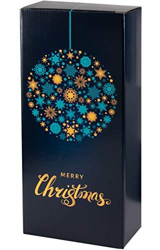 5 Stück/Set. Wein Flaschen Geschenkkarton 2er Blau & Gold zu Weihnachten