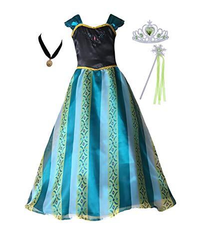 Cokos Box chicas Vestido de coronación Conjunto de varita de tiara con collar de disfraz de princesa (5T-6X - Amazon Green)
