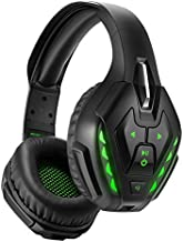 YOTMS Wired Gaming Headset for PS4, Xbox One, PC, Nintendo Switch, with Detachable Mic, Bluetooth Wireless Over Ear Headset with Bulit in Mic, 40 Hours of Use, Noise Cancelling Headphones (Green)