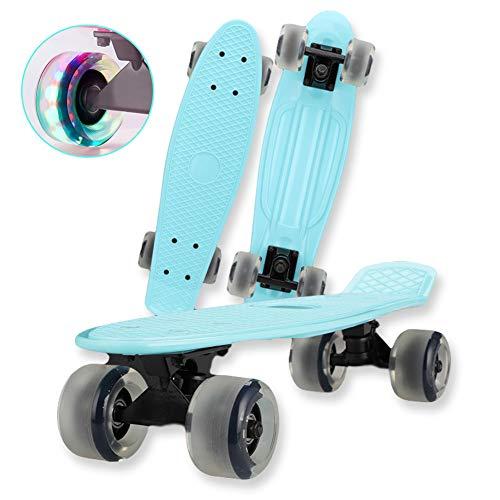 FGKING 22 Inch Skateboard for Kids, Complete Mini Skate Board Retro Plastic Cruiser Longboards Skateboard Non-Slip Deck Funny Cool Skateboards with LED Light Up Wheels,Blue
