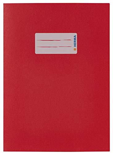 HERMA 5502 Papier Heftumschlag DIN A5 mit Beschriftungsfeld, aus kräftigem Recycling Altpapier und satten Farben, Heftschoner für Schulhefte, rot