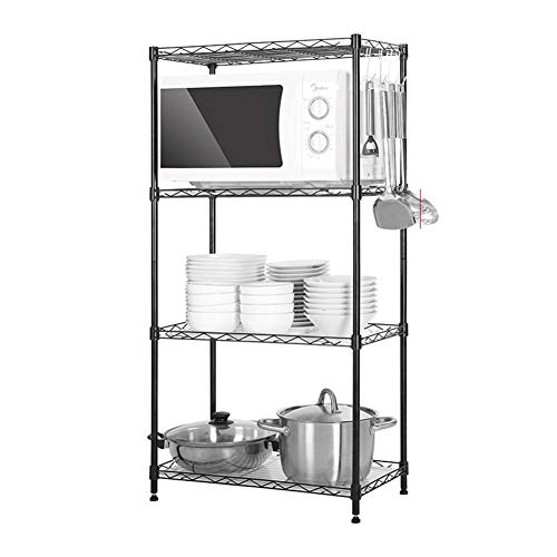 4 Tier Steel Wire Shelving Rack Multi Purpose Strong Durable Mesh Carbon Steel Shelf For Kitchen Bedroom Pantry Storage Cabinet Organizer Color  Black