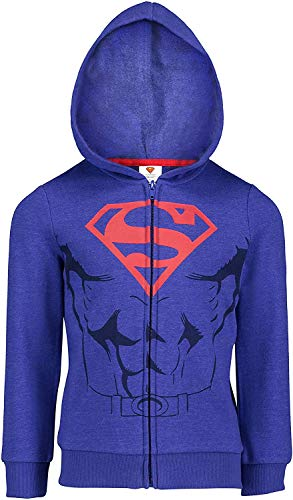 DC Comics (823592SUM) Superman Boys Fleece Hoodie with 3D Muscles and Cape in Blue, 6