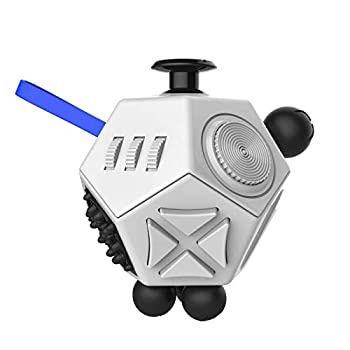 12 Sided Fidget Cube,Fidget Dodecagon Toys Anti-anxiety,Relieves Stress and Autism for Kids ,Teens and Adults White/A2