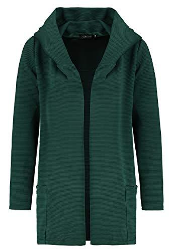 Sublevel Damen Cardigan Sweat-Jacke mit Kapuze & Rillenoptik Dark-Green M