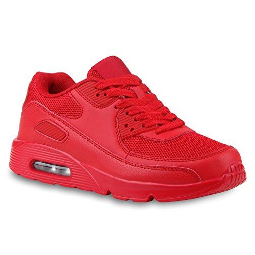 stiefelparadies Damen Schuhe Sportschuhe Laufschuhe Profilsohle Neon Schnürer 124607 Rot Carlton 36 Flandell