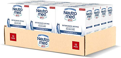 Neutromed Detergente Intimo Attivo per Uomo, con Complesso Micellare, Azione Protettiva, pH 5.5, 12 Pezzi x 200 ml